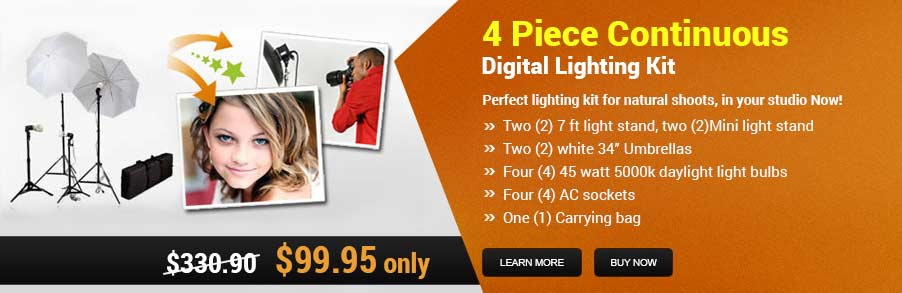 4 Piece Continuous Digital Lighting Kit