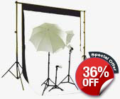 Triple Lighting Kit with Black & White Backdrops