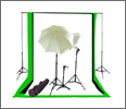 Black, White, Green Backdrop with Triple Lighting Kit